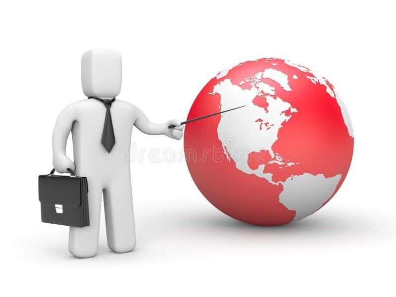 Hombre de negocios que señala al globo stock de ilustración