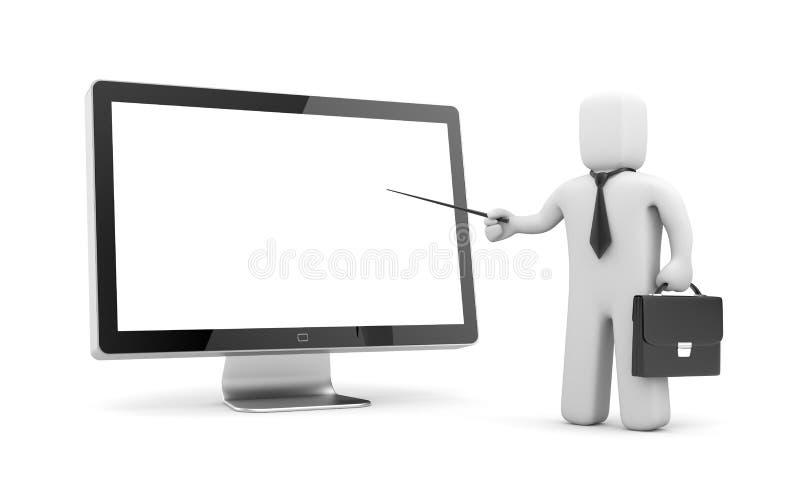 Hombre de negocios que señala al monitor stock de ilustración