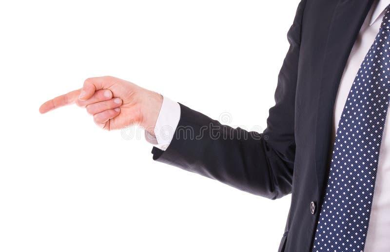 Hombre de negocios que señala algo usando un finger. imágenes de archivo libres de regalías