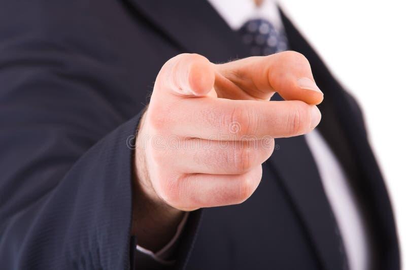 Hombre de negocios que señala con el dedo. fotografía de archivo libre de regalías