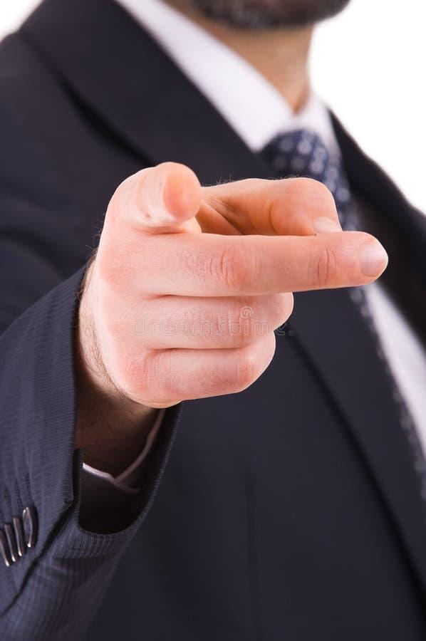 Hombre de negocios que señala con el finger. imágenes de archivo libres de regalías