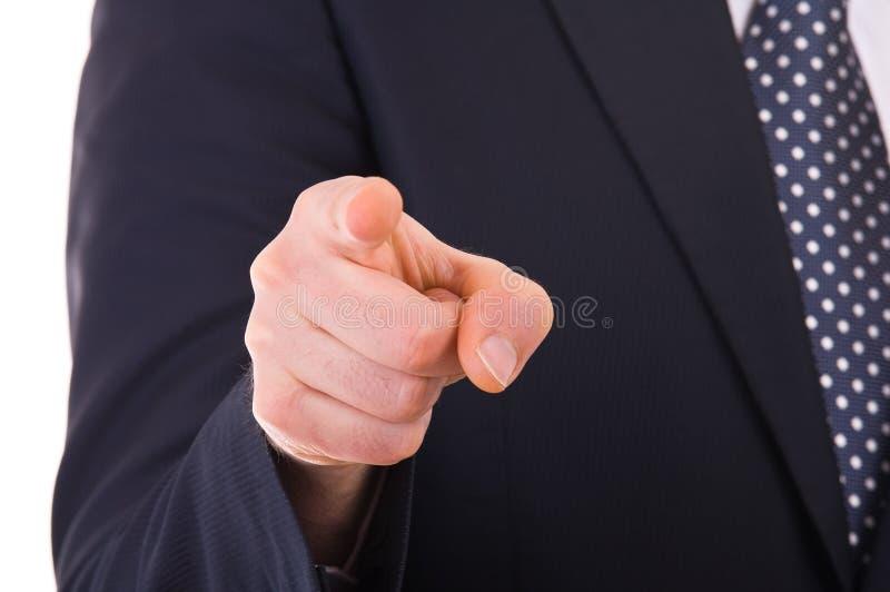 Hombre de negocios que señala con el finger. fotos de archivo