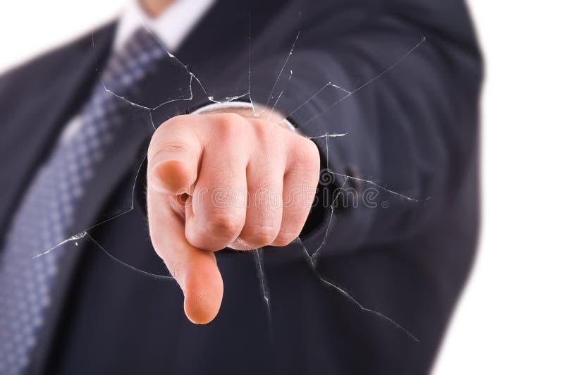 Hombre de negocios que señala con el finger. foto de archivo
