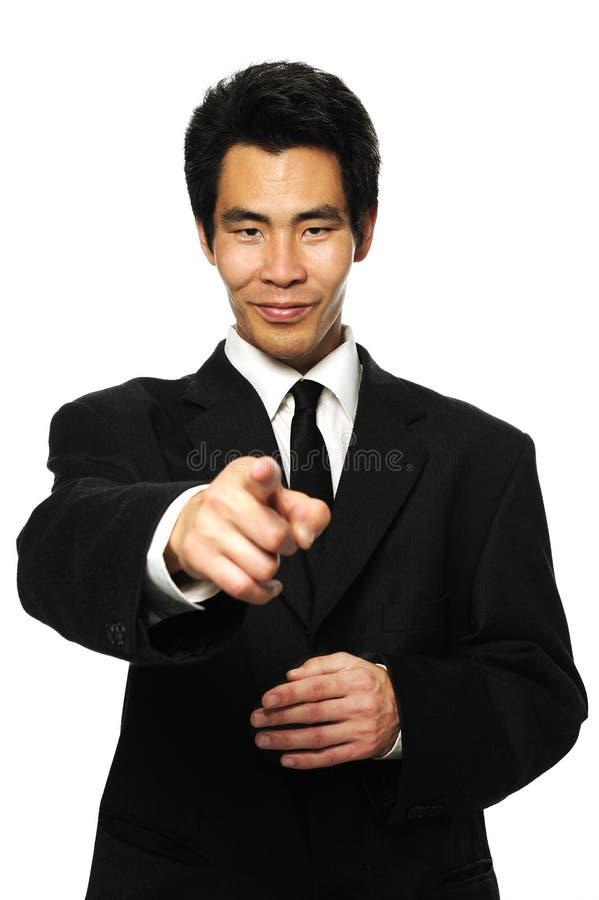 Hombre de negocios que señala el dedo foto de archivo libre de regalías