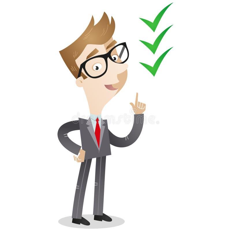 Hombre de negocios que señala en las marcas de verificación stock de ilustración
