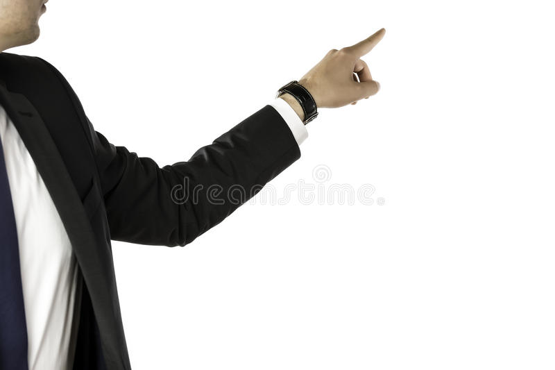 Hombre de negocios que señala a la parte posterior imagen de archivo