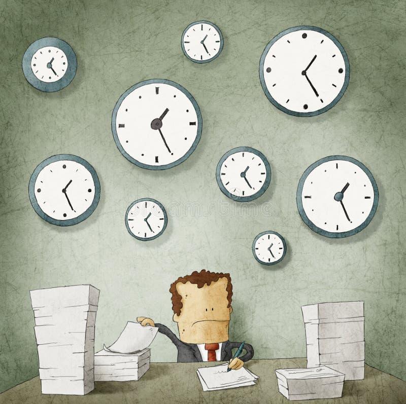 Hombre de negocios que se ahoga en papeleo. Relojes en la pared ilustración del vector
