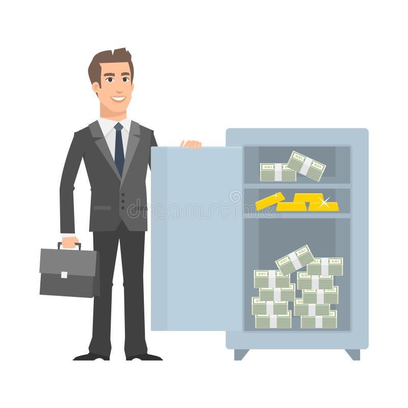Hombre de negocios que se coloca cerca con seguro abierto y la sonrisa libre illustration
