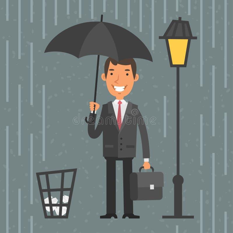 Hombre de negocios que se coloca con el paraguas en lluvia stock de ilustración