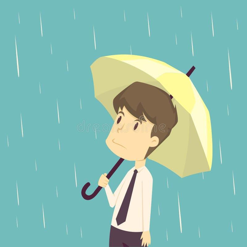 Hombre de negocios que se coloca con el paraguas en lluvia historieta del negocio, ilustración del vector