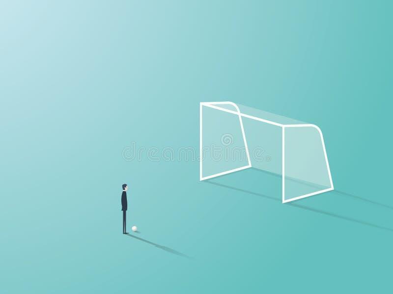 Hombre de negocios que se coloca delante de red vacía de la meta del fútbol o del fútbol con la bola que espera para tirarla o pa stock de ilustración