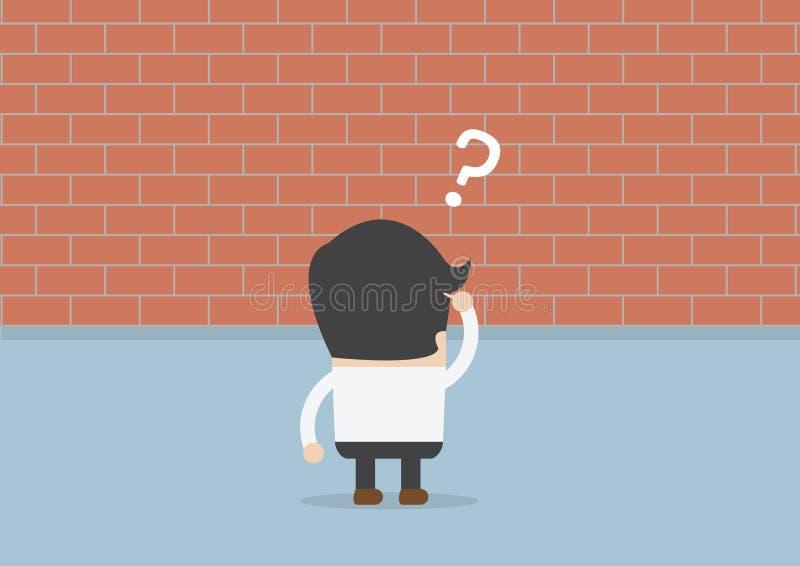 Hombre de negocios que se coloca delante de una pared de ladrillo grande ilustración del vector