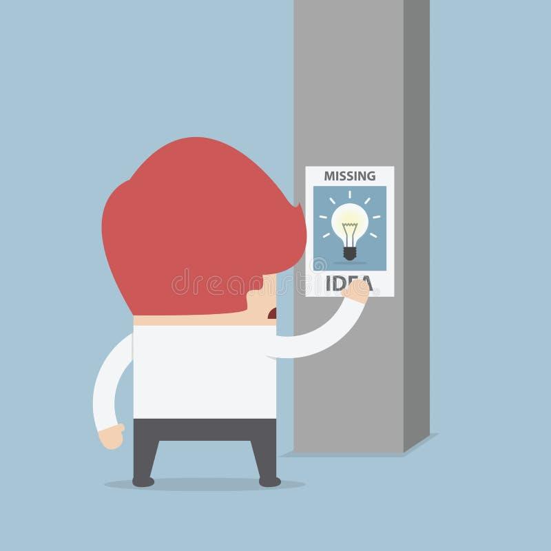Hombre de negocios que se coloca delante del cartel que falta de la idea ilustración del vector