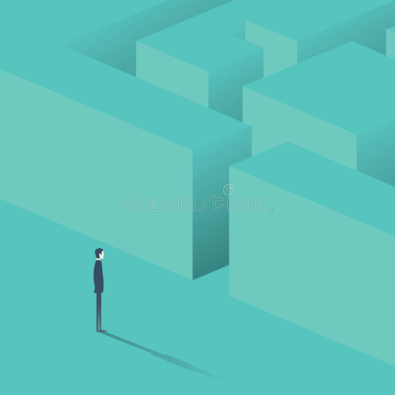 Hombre de negocios que se coloca delante del laberinto Estrategia del concepto del negocio, hallazgo de la solución stock de ilustración