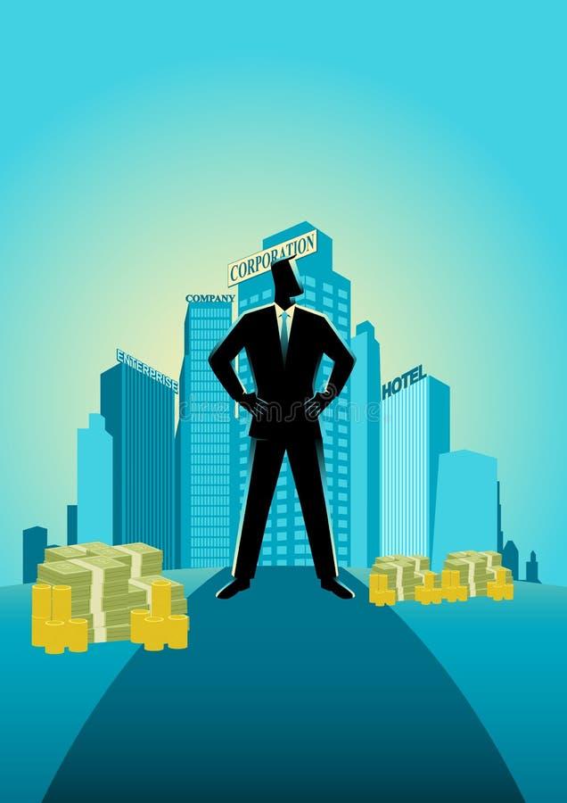Hombre de negocios que se coloca delante de edificios y de oficina comerciales stock de ilustración