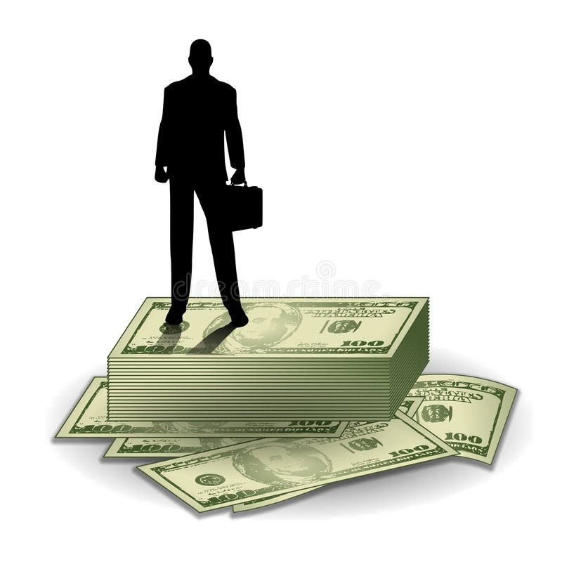 Hombre de negocios que se coloca en el dinero ilustración del vector