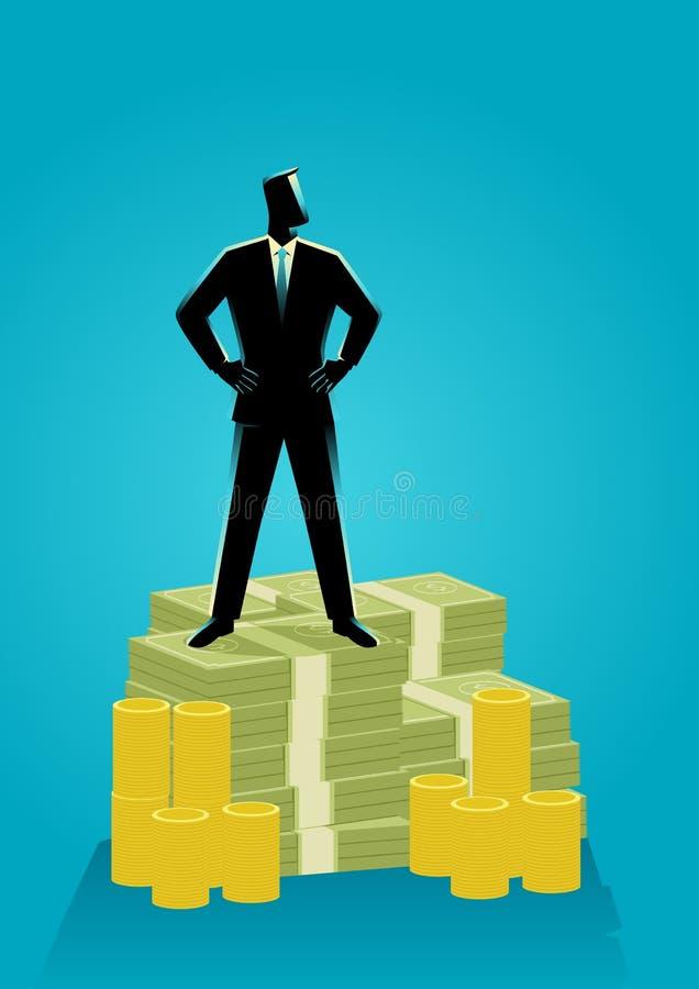 Hombre de negocios que se coloca en el dinero libre illustration