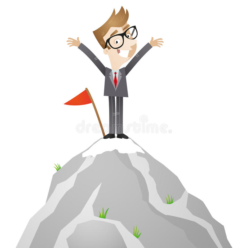Hombre de negocios que se coloca en el top de la montaña libre illustration