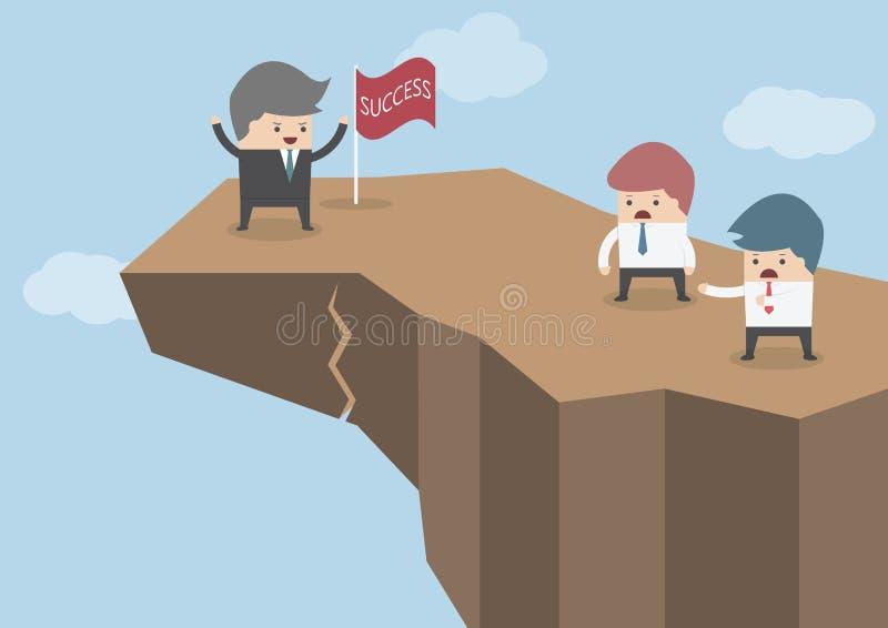 Hombre de negocios que se coloca en el top del acantilado peligroso, negocio ilustración del vector