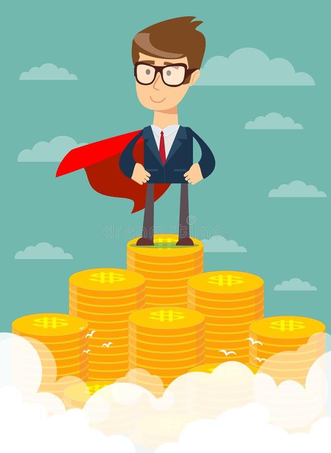 Hombre de negocios que se coloca en la escalera enorme del dinero ilustración del vector