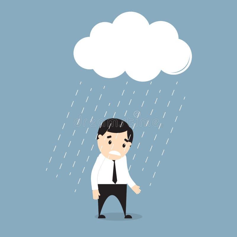 Hombre de negocios que se coloca en la lluvia debajo de una nube stock de ilustración
