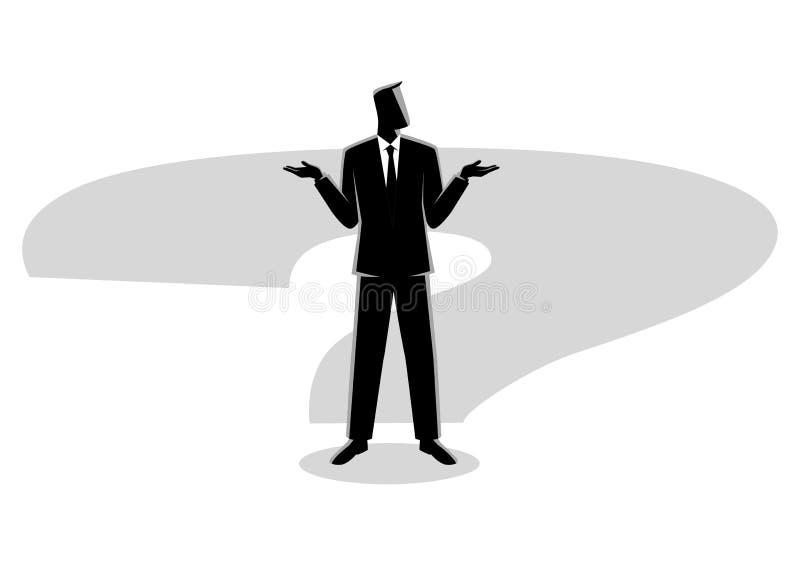 Hombre de negocios que se coloca en sombra del signo de interrogación stock de ilustración
