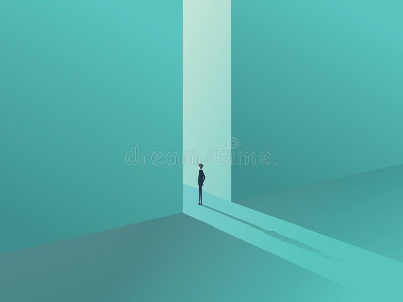 Hombre de negocios que se coloca en una puerta como símbolo de las oportunidades de negocio, del desafío, de la visión y del futu stock de ilustración