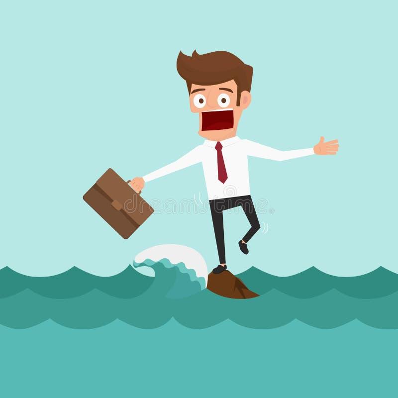 Hombre de negocios que se coloca en una roca en el medio del mar con las ondas grandes Concepto del riesgo ilustración del vector
