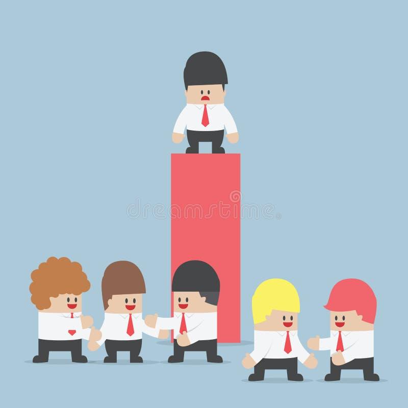 Hombre de negocios que se coloca solamente en la cima de gráfico libre illustration