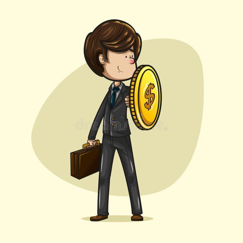 Hombre de negocios que se coloca que sostiene un escudo hecho de una moneda fotografía de archivo