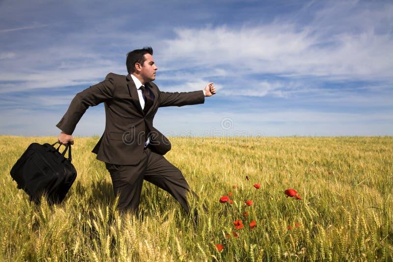 Hombre de negocios que se ejecuta en un campo fotos de archivo