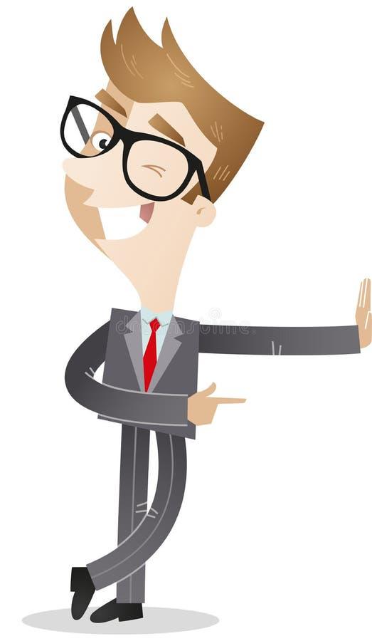 Hombre de negocios que se inclina contra la pared y el guiño ilustración del vector