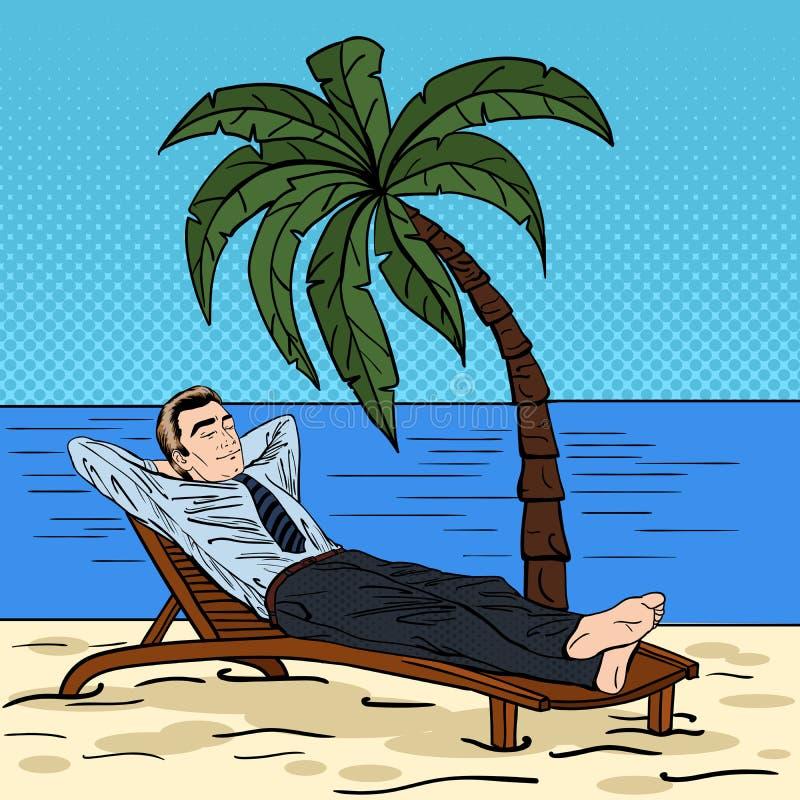 Hombre de negocios que se relaja en la playa Hombre en vacaciones tropicales Arte pop stock de ilustración