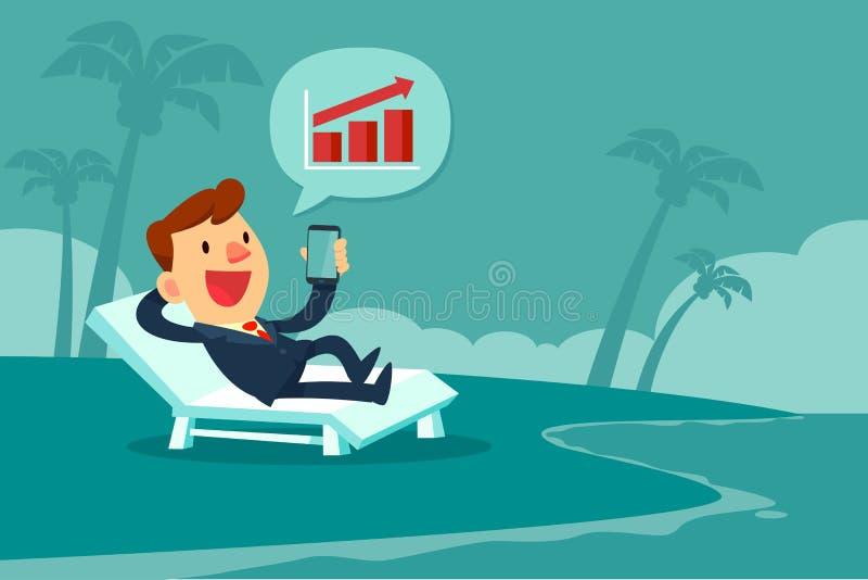 Hombre de negocios que se relaja en la silla de playa que mira la carta de barra en smar stock de ilustración