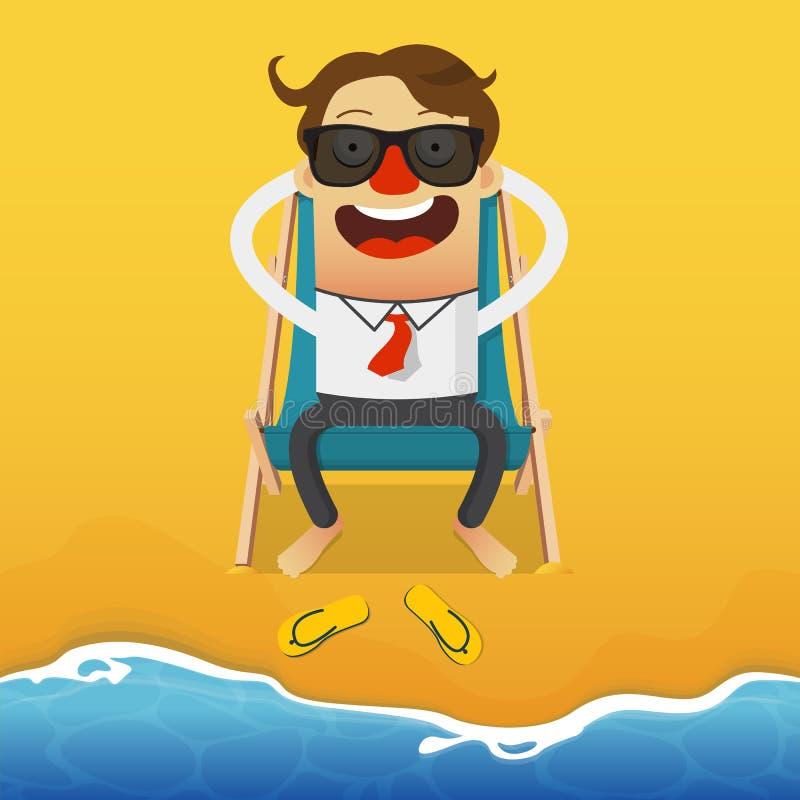 Hombre de negocios que se relaja en una butaca azul de la playa Silla de cubierta en la playa en Brighton Vector de la historieta libre illustration