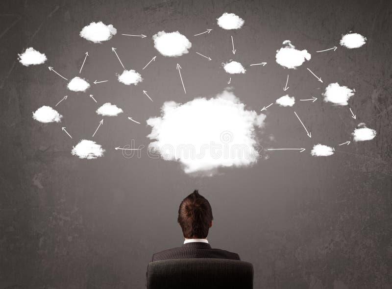 Hombre de negocios que se sienta con tecnología de la nube sobre su cabeza
