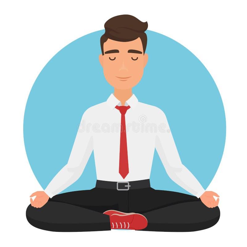 Hombre de negocios que se sienta en el ejemplo del vector de la actitud del loto de la yoga Meditación del hombre de la oficina stock de ilustración