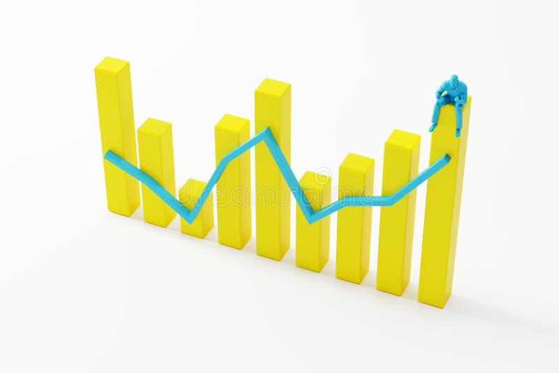 Hombre de negocios que se sienta en gráfico de barra acertado amarillo en el fondo blanco fotos de archivo libres de regalías