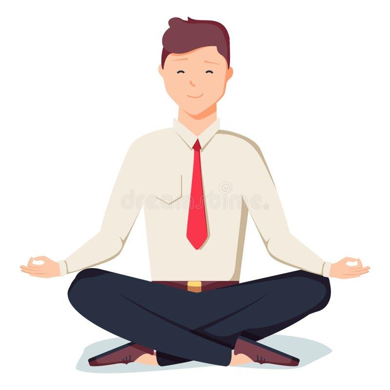Hombre de negocios que se sienta en la actitud del loto del padmasana Oficinista que medita, relajando o haciendo yoga después de stock de ilustración