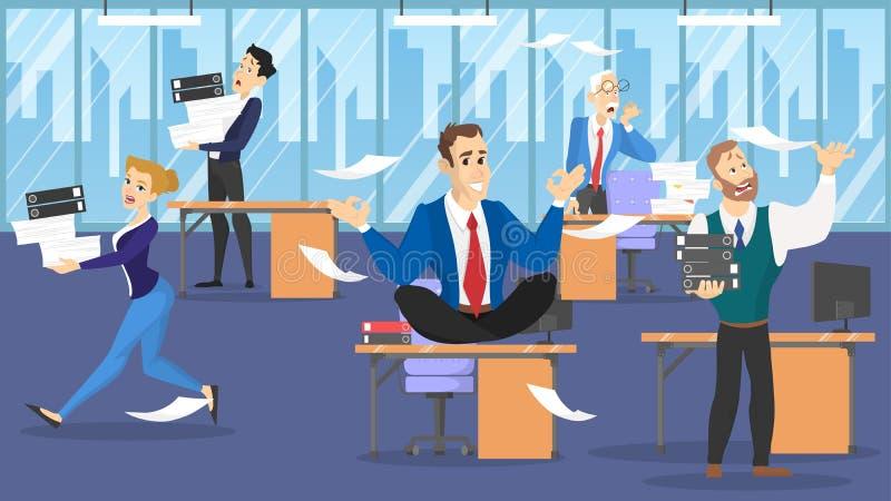 Hombre de negocios que se sienta en la tabla en actitud del loto durante plazo libre illustration