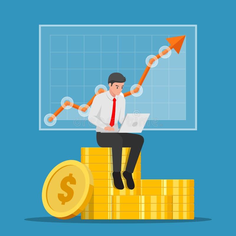 Hombre de negocios que se sienta en pila de la moneda con el ordenador portátil y el gráfico del mercado de acción ilustración del vector