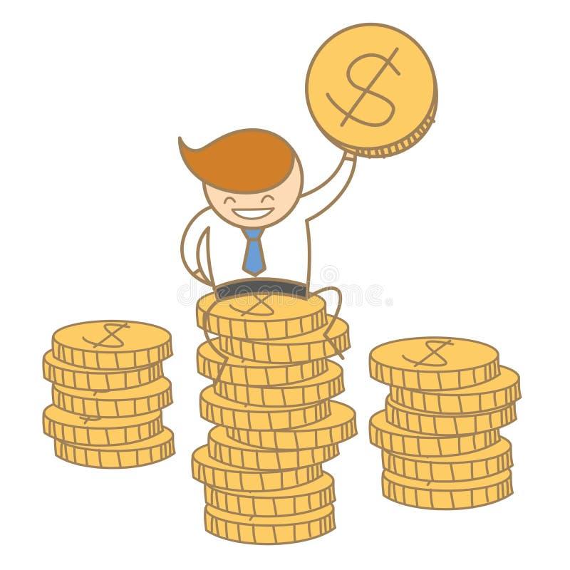 Hombre de negocios que se sienta encima de moneda del dólar ilustración del vector