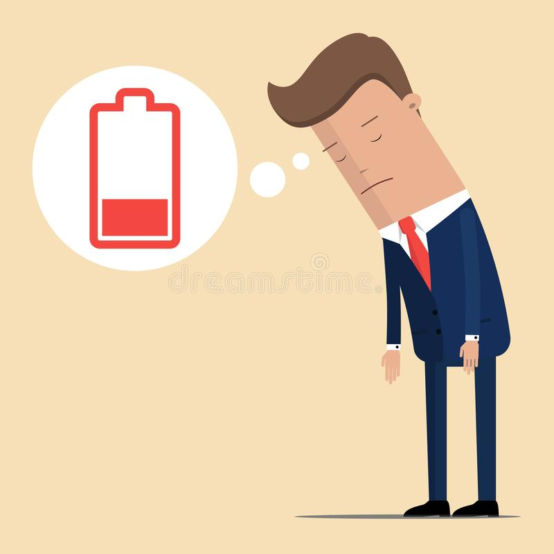 Hombre de negocios que siente batería cansada y baja Carácter del hombre de negocios ninguna batería de la energía Ilustración de ilustración del vector