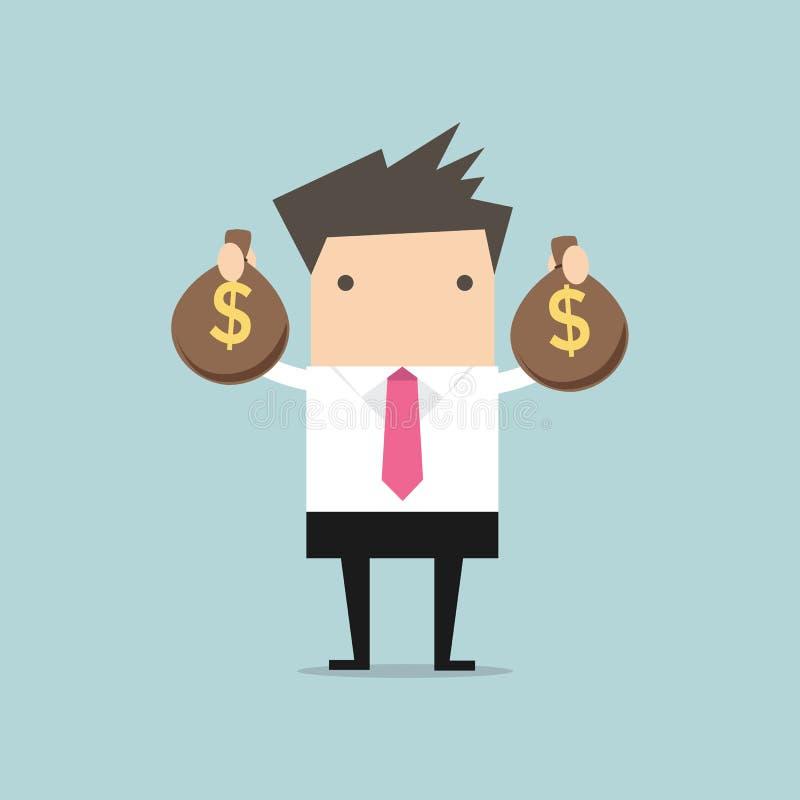 Hombre de negocios que sostiene el bolso del dinero en manos ilustración del vector