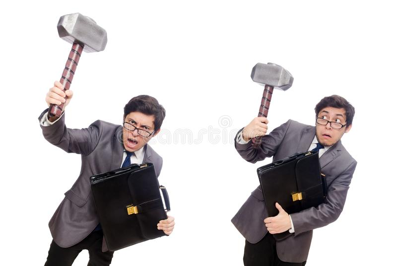 Hombre de negocios que sostiene el martillo aislado en blanco imagen de archivo libre de regalías