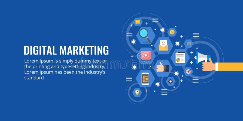 Hombre de negocios que sostiene el megáfono, promoción en línea, márketing digital, concepto de la medios publicidad Bandera plan ilustración del vector