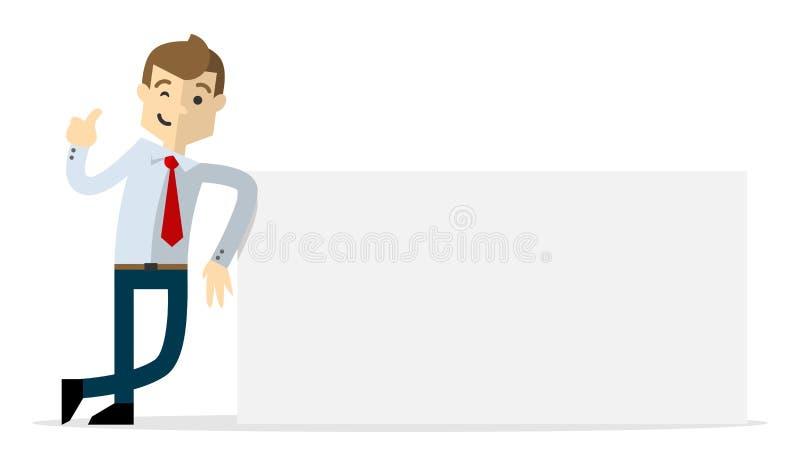 Hombre de negocios que sostiene el papel en blanco libre illustration