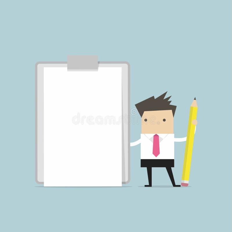Hombre de negocios que sostiene el tablero con el Libro Blanco en blanco stock de ilustración