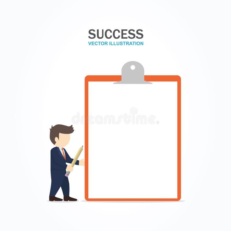 Hombre de negocios que sostiene el tablero con el Libro Blanco en blanco ilustración del vector