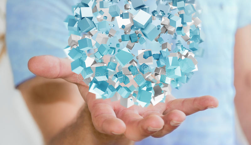 Hombre de negocios que sostiene la esfera abstracta que vuela con el cubo brillante 3D con referencia a stock de ilustración